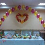 Сердце из воздушных шаров и арка с гелиевыми шарами