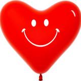 Сердце (12″/30 см) Улыбка, Красный (315), пастель, 2 ст, 100 шт.