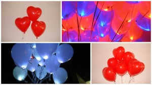 шарики сердечки, светящиеся шары