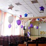 Выпускные в школе. Украшение шарами актового зала