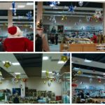 Украшение новогоднее магазина воздушными шарами